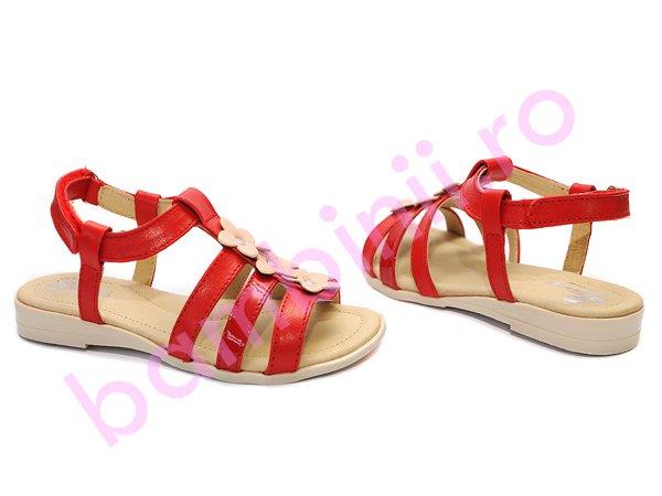 Sandale fete din piele Pj Shoes Gladiator rosu