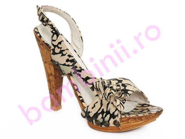 Sandale cu toc femei leopard
