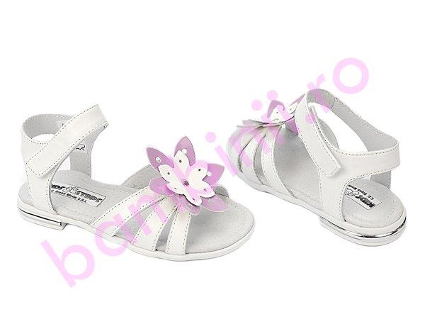 Sandale fete din piele 1317 alb lila