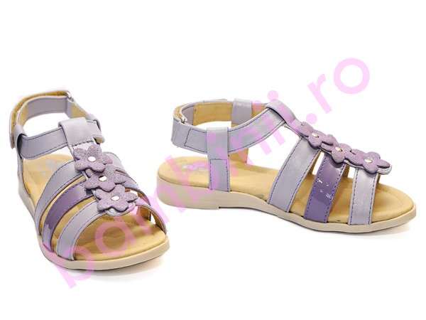 Sandale fete din piele Pj Shoes Gladiator mov