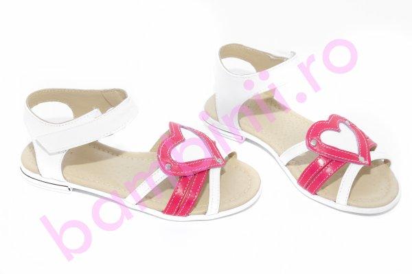 Sandale fete inimioare 1316 alb ciclame 26-36