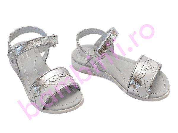 Sandale fete Pj Shoes Iris alb argintiu