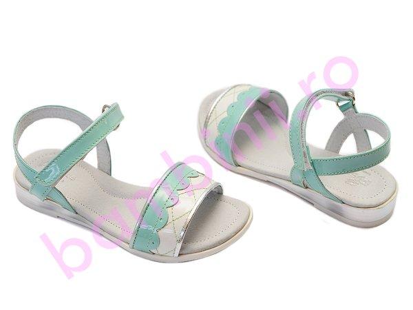Sandale fete Pj Shoes Iris alb vernil