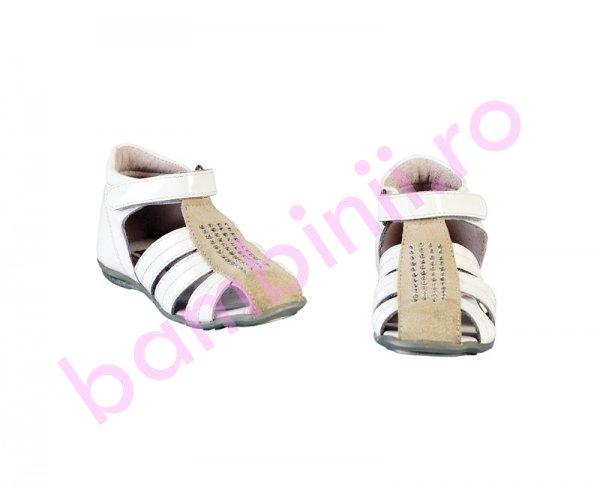 Sandale fete piele Pj Shoes Isa alb