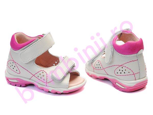Sandale fete piele 113 alb roz