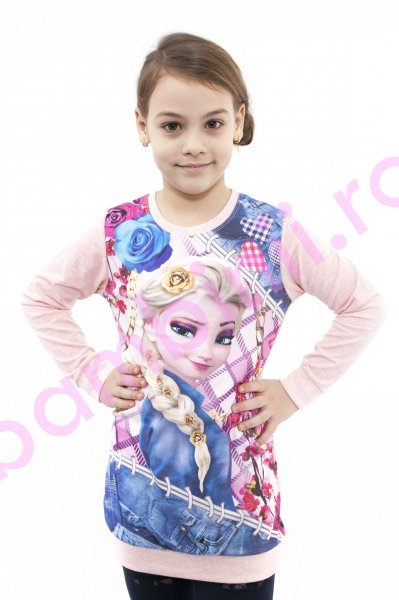 Tricouri fete cu maneca lunga Frozen Elsa 3962 roz
