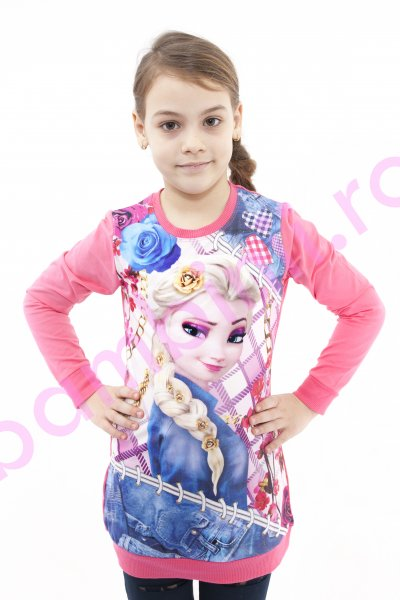 Tricouri fete cu maneca lunga Frozen Elsa 3962 fuxia