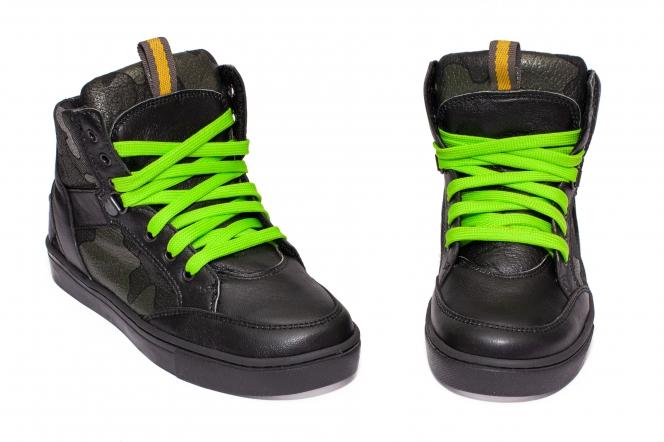 Bascheti copii din piele pj phoes Box negru verde 31-38