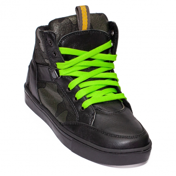 Bascheti copii din piele pj shoes Box gri camuflaj 31-38