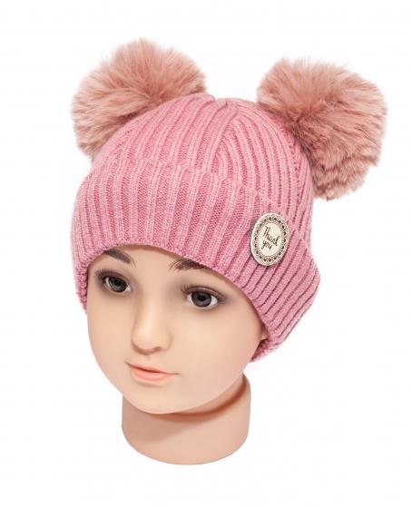 Caciuli groase fete cu ciucuri 1760 roz pal 9luni-2ani