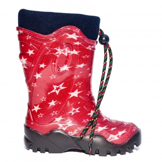 Cizme copii cauciuc cu blana de iarna 4 rosu stelute 24-39