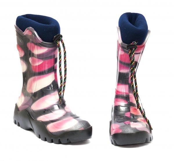 Cizme cauciuc cu blana fete iarna 4 roz mov negru 24-39