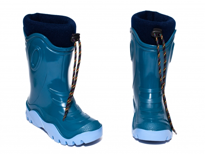 Cizme copii cauciuc cu blana iarna 4 turcoaz albastru 24-39