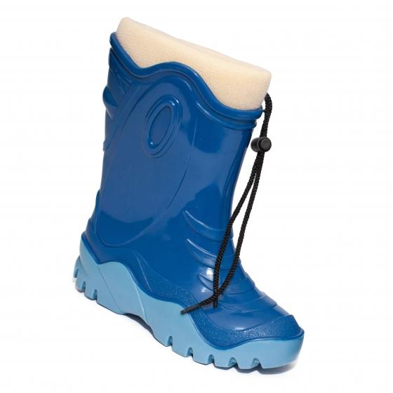 Cizme de zapada copii cu blana iarna 4 albastru bej 24-39