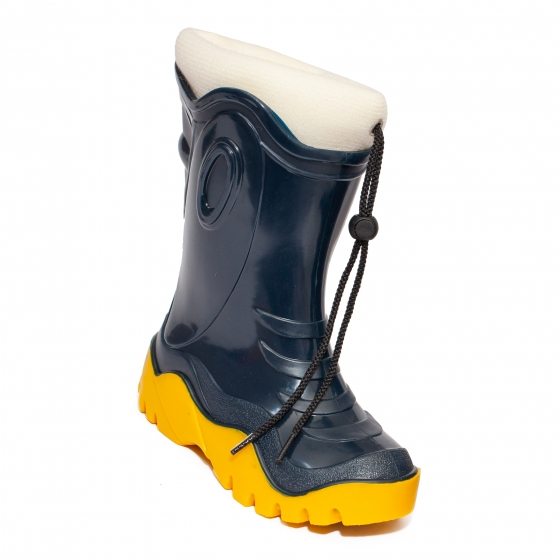 Cizme de zapada copii cu blana iarna 4 blu galben bej 24-39