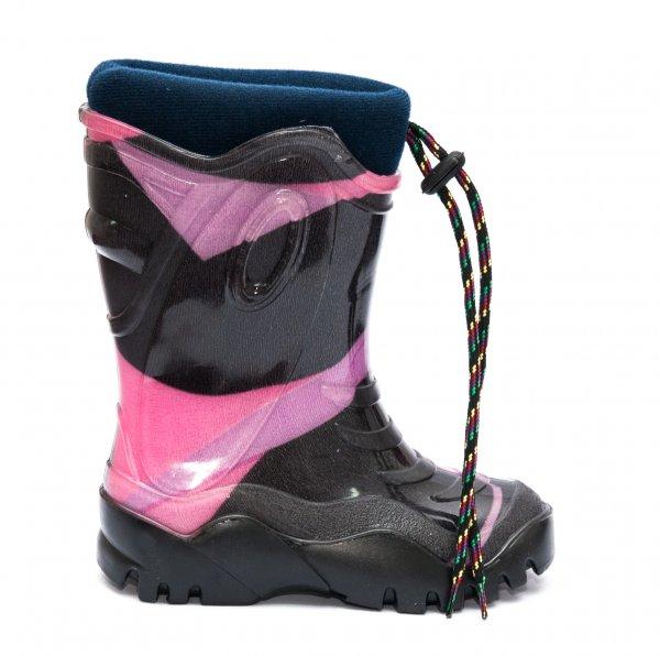 Cizme fete cauciuc cu blana iarna 4 negru roz mov 26-36