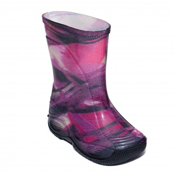 Cizme fete cauciuc de ploaie 2 dungi mov roz 20-35