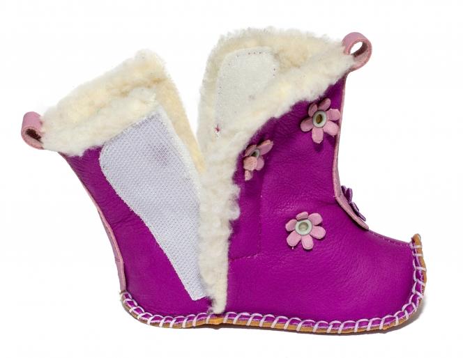 Cizmulite fete flexibile cu blana 10319 mov roz 15-20