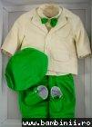 Costum baieti de botez celebrity 5447 bej verde 3-9luni