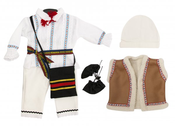 Costum botez trraditional baieti 5604 alb 3luni-2ani