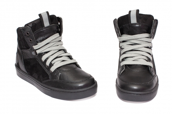 Ghete copii din piele pj shoes Box negru camuflaj 31-38