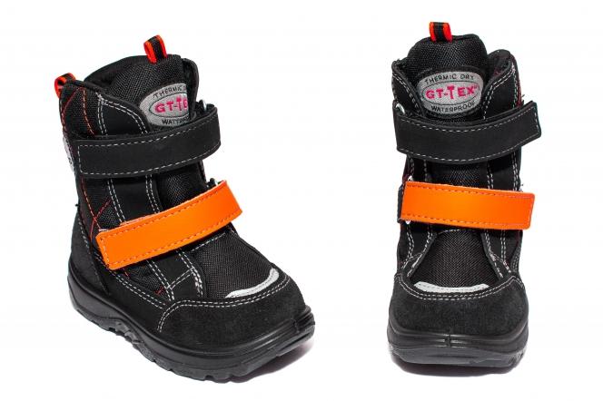 Ghete copii impermeabile cu blana GT tex 93311 negru orange 20-25