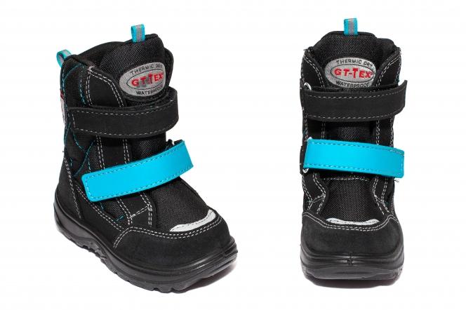Ghete copii impermeabile cu blana GT tex 93311 negru turcoaz 20-25