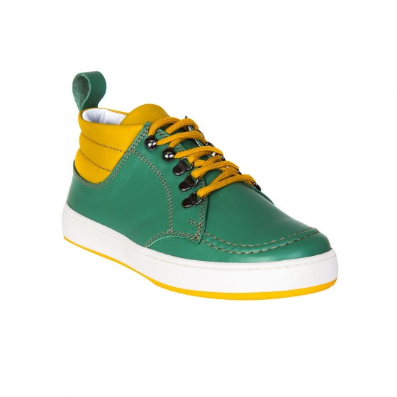 Ghete copii piele pj shoes Mateo verde galben 27-36