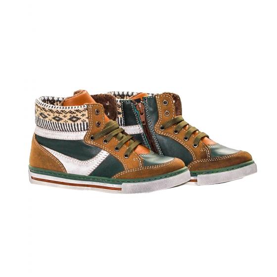 Ghete copii cu blanita pj shoes Kiddo verde maro 27-37