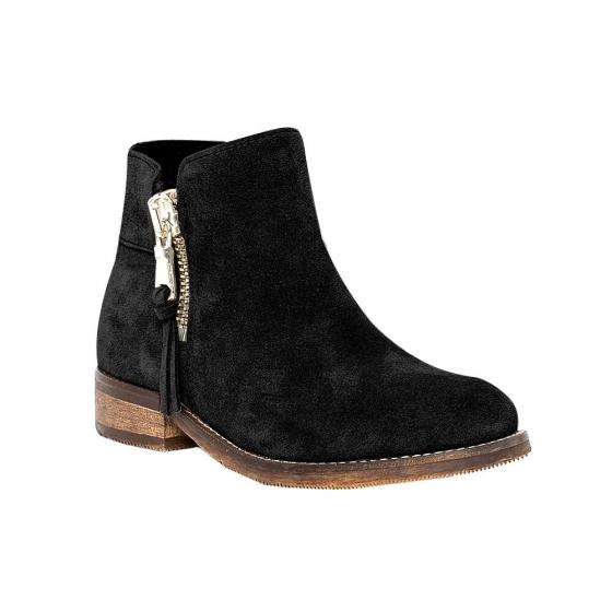 Ghete fete piele pj shoes Lena negru velur 31-37