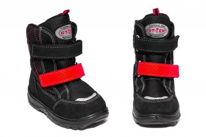 Ghete impermeabile copii blana GT tex 93311 negru red 20-25