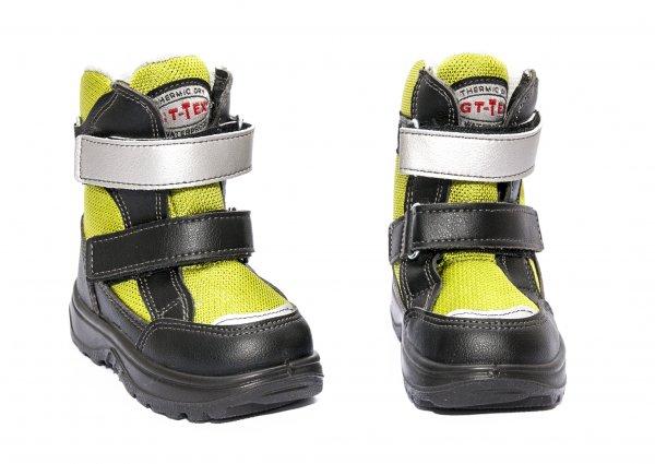Ghete impermeabile copii cu blana gt-tex 93312 negru verde 20-25