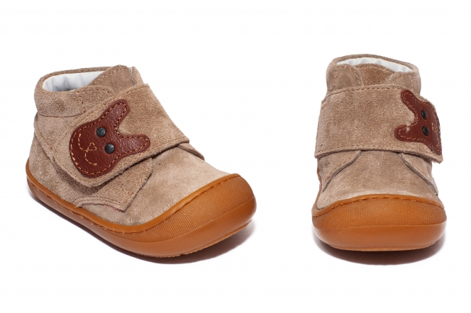 Ghetute copii cu talpa flexibila pj shoes Teddy bej gri 18-25
