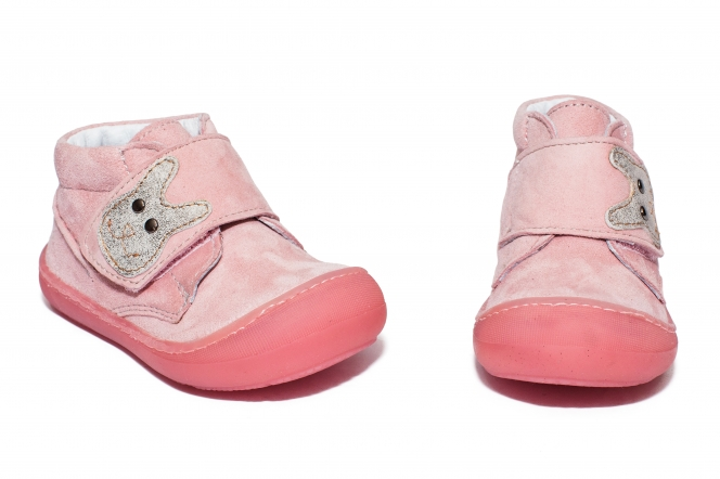 Ghetute fete cu talpa flexibila pj shoes Teddy roz velur 18-25