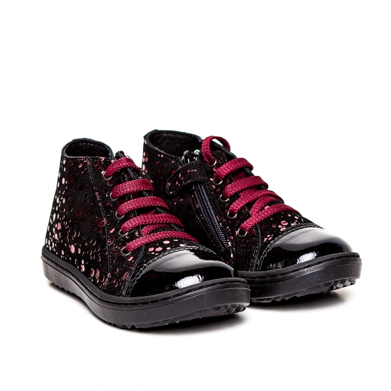 Ghetute fete piele pj shoes Rocky negru bordo 20-26