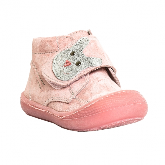 Ghetute fete cu talpa flexibila pj shoes Teddy roz box 18-25