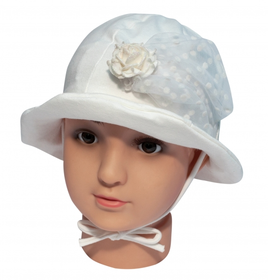 Palarie fete mic pitic pl39 alb ivoar 40-42cm