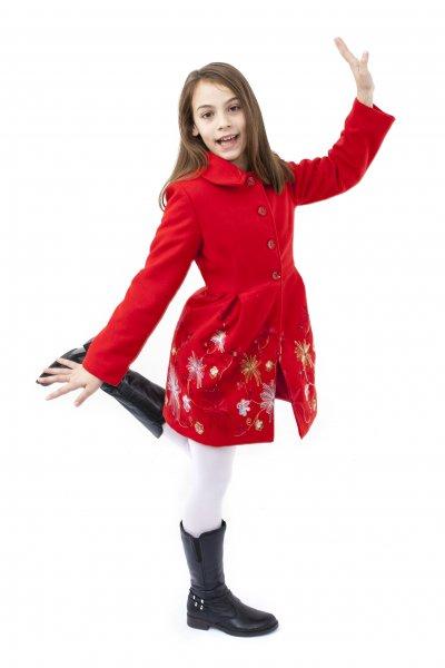 Paltone fete brodat Delia rosu 3luni-12ani