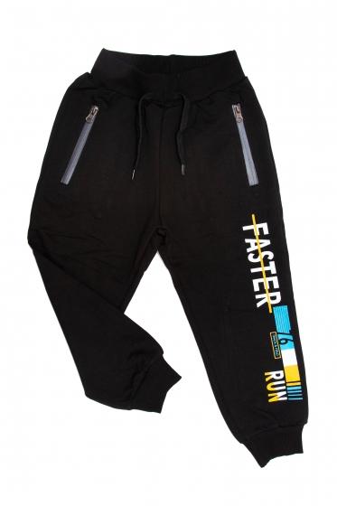 Pantaloni trening copii 1723 negru galben 98-122cm