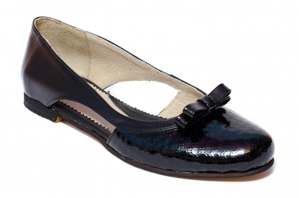 Pantofi balerini dama decupati din piele 026D negru lac 34-41