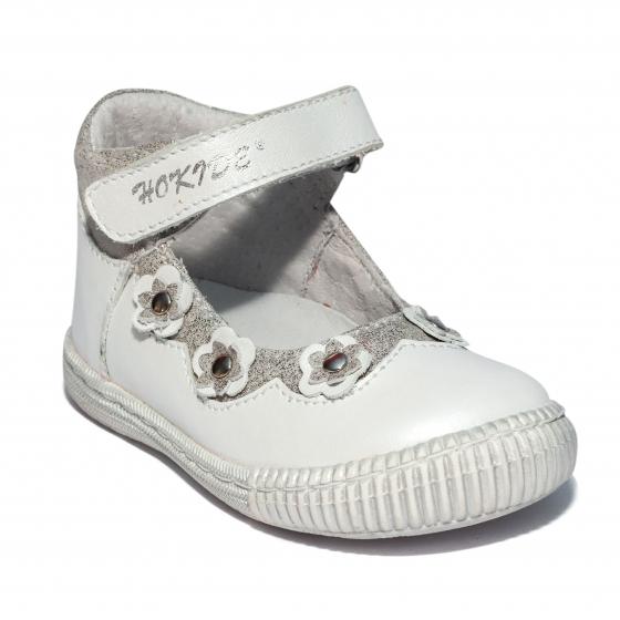 Pantofi balerini fete inalt pe glezna hokide 401 alb 18-25