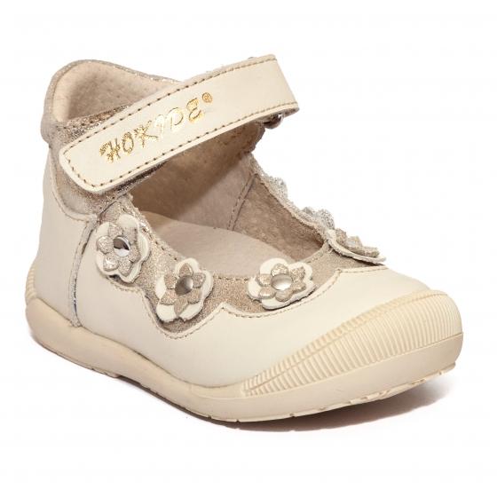 Pantofi balerini fete inalt pe glezna hokide 401 bej auriu 18-24