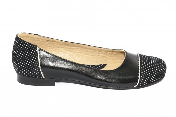 Pantofi balerini fete piele 026 negru pipit 34-41