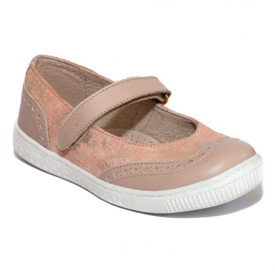 Pantofi balerini fete scoala hokide 419 bej roz lux 26-35