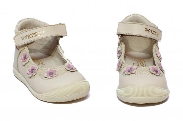 Pantofi balerini fete inalt pe glezna hokide 401 bej lila 18-24
