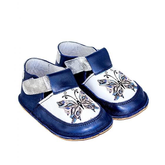 Pantofi copii cu talpa flexibila Woc 015 albastru fluture 18-25