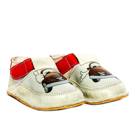 Pantofi copii cu talpa foarte moale Woc 006 alb cars 18-25