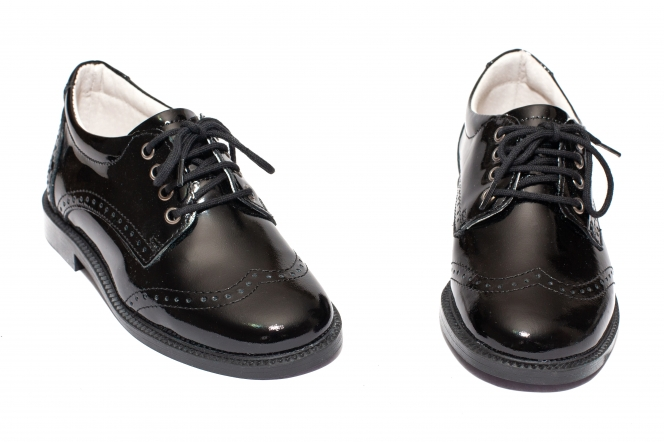 Pantofi copii eleganti piele leofex 102 negru lac brodat 26-37