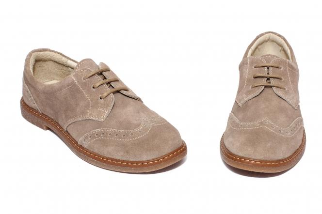 Pantofi copii piele intoarsa pj shoes Frigerio bej 31-38
