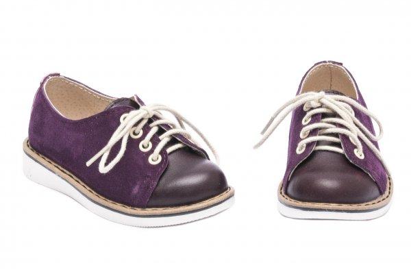 Pantofi copii piele naturala 1399 mov lux 20-25